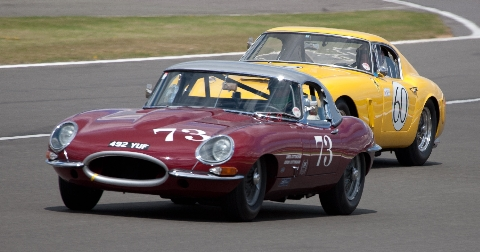 Jaguar E type and Ferrari 250